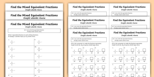 Find Equivalent Fractions Differentiated Activity Sheets English/Polish - fractions, equivalent, polish