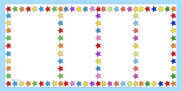 Multicoloured Star Page Borders - star, space, border, templates