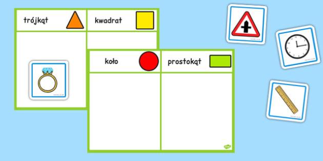 Zestaw do sortowania Figury geometryczne płaskie po polsku