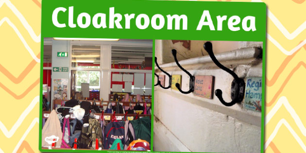 Cloakroom Area Photo Sign - cloakroom area, photo, sign, display