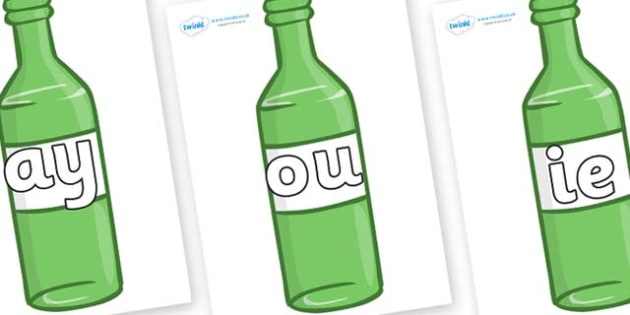 Phase 5 Phonemes on Green Bottles - Phonemes, phoneme, Phase 5, Phase five, Foundation, Literacy, Letters and Sounds, DfES, display
