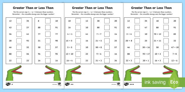Greater Than And Less Than Worksheet Greater Than Less