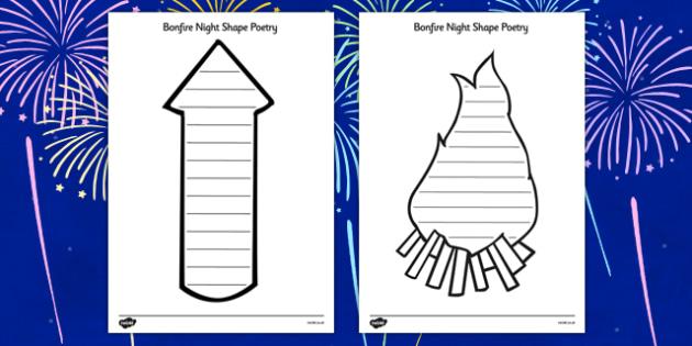 Bonfire night shape poetry bonfire night shape poetry for Firework shape poems template