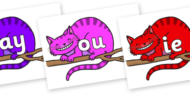 Phase 5 Phonemes on Cheshire Cats - Phonemes, phoneme, Phase 5, Phase five, Foundation, Literacy, Letters and Sounds, DfES, display