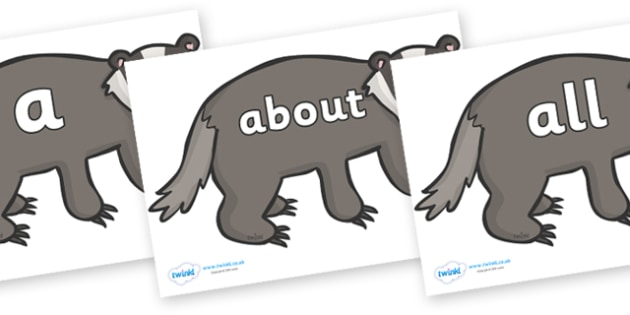 100 High Frequency Words on Badgers - High frequency words, hfw, DfES Letters and Sounds, Letters and Sounds, display words