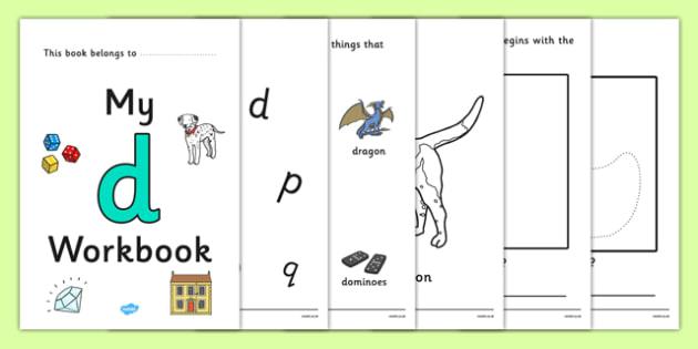 My Workbook d lowercase - workbook, d sound, lowercase, letters, alphabet, activity, handwriting, writing