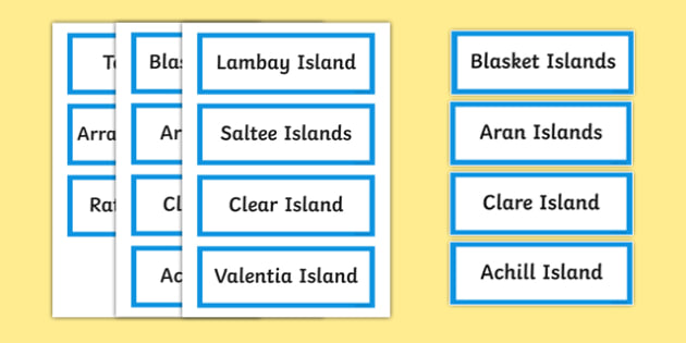 Islands of Ireland Word Cards