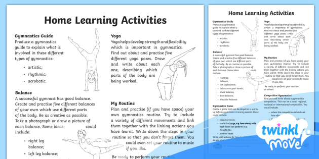 Home Learning Tasks - Year 4 PE Gymnastics Lesson - rolls, leaps