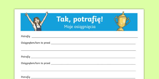 Karta Moje Osiągnięcia po polsku, worksheet