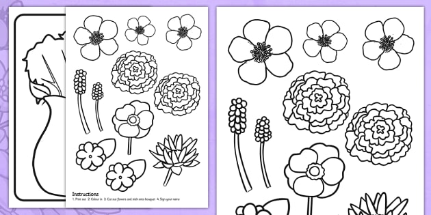 mothers day flower bouquet colouring activity mothers day