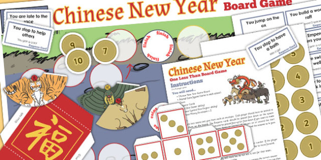 One Less Than Chinese New Year Board Game Board - board game