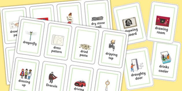 Three Syllable DR Flash Cards - sen, sound, dr sound, dr, three syllable, flash cards
