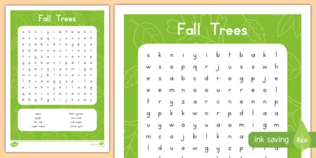 Fall Trees Word Search