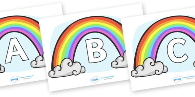 A-Z Alphabet on Rainbows - A-Z, A4, display, Alphabet frieze, Display letters, Letter posters, A-Z letters, Alphabet flashcards