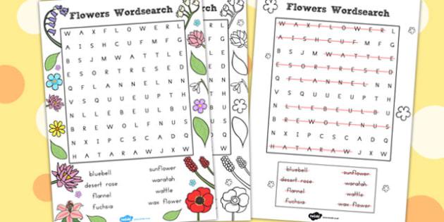 Flowers Wordsearch - Australia, Flower, Word, Search, Wordsearch