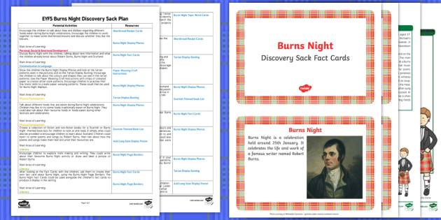 EYFS Burns Night Discovery Sack Plan and Resource Pack - burns night, discovery, sack, pack