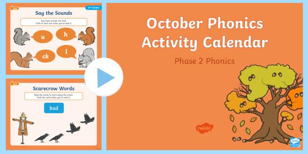 Phase 2 October Phonics Activity Calendar PowerPoint