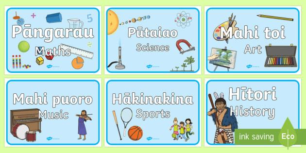 Subject and Signs Display Banner English/Te Reo Maori