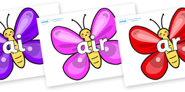 Phase 3 Phonemes on Butterflies - Phonemes, phoneme, Phase 3, Phase three, Foundation, Literacy, Letters and Sounds, DfES, display