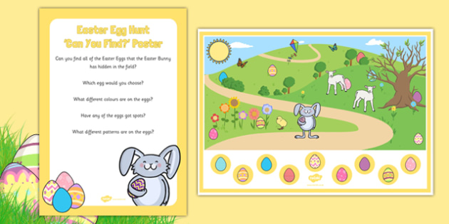 Easter Egg Hunt Can You Find Poster and Prompt Card Pack - Easter Eggs, poster, prompt, card