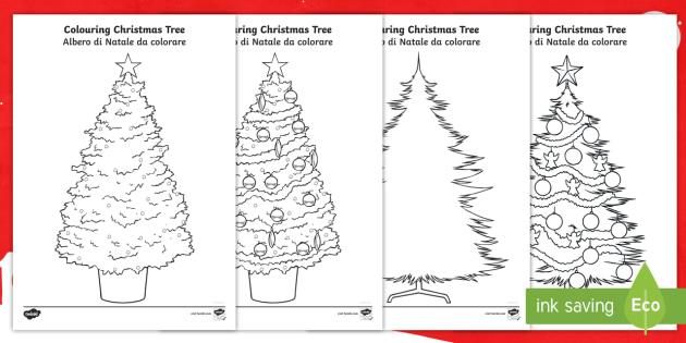 Colouring Christmas Tree Template Activity Englishitalian