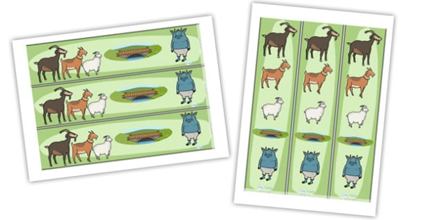The Three Billy Goats Gruff Display Borders - Three Billy Goats Gruff, display border, classroom border, border, traditional tales, tale, fairy tale, goat, billy goat, troll, sweet grass, bridge