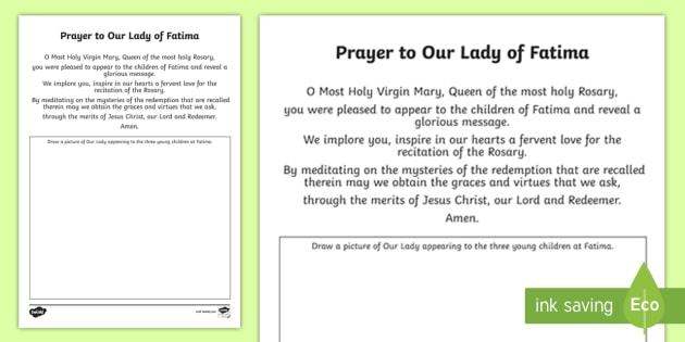 Prayer To Our Lady Of Fatima Worksheet Activity Sheet Our