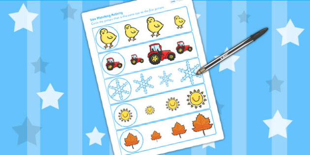 Seasons Size Matching Worksheet - seasons, weather, size, match