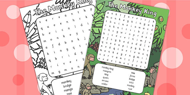 The Monkey King Buddhist Story Word Search - buddhist, wordsearch
