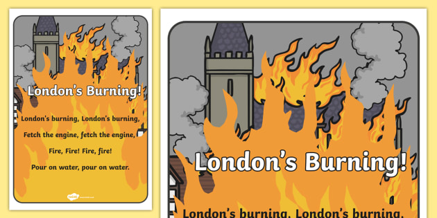 londons burning nursery rhyme display poster londons burning