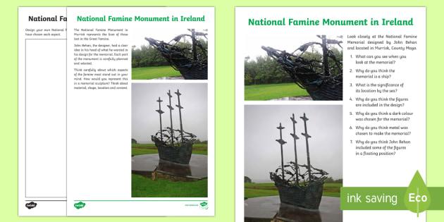 National Famine Monument in Ireland Writing and Art Activity Sheets - World Around Us KS2 - Northern Ireland, The Great Famine, Gorta Mor, Irish Famine, worksheets, bligh