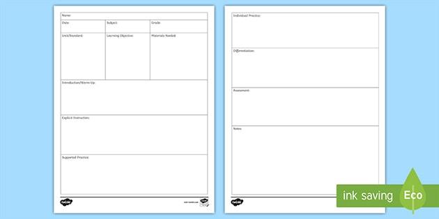 Lesson plan template free printable danal. Bjgmc-tb. Org.