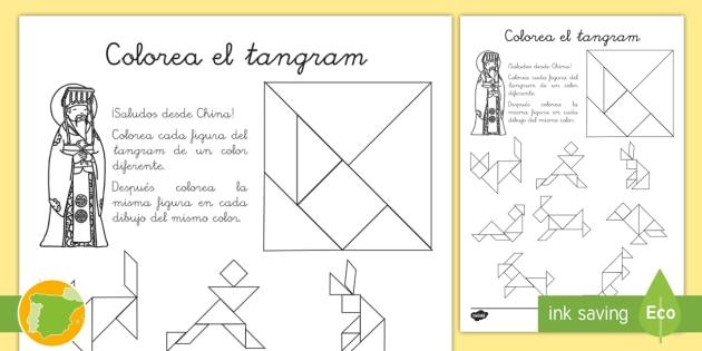 Ficha de actividad: Colorea el \'Tangram\' - figuras planas, triángulo
