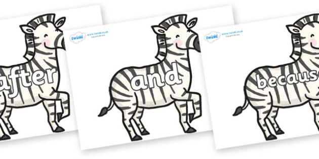 Connectives on Zebras - Connectives, VCOP, connective resources, connectives display words, connective displays