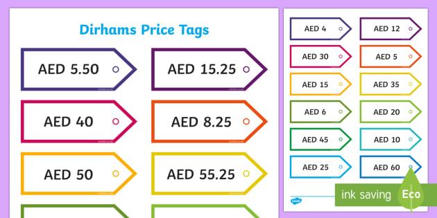 Price tags in Dirhams price tags