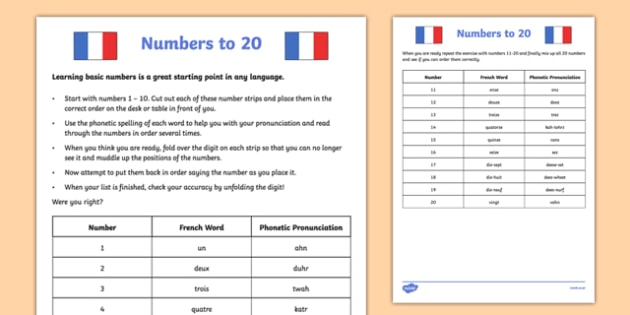 Numbers to 20 French Worksheet / Worksheet - french, numbers to 20 ...