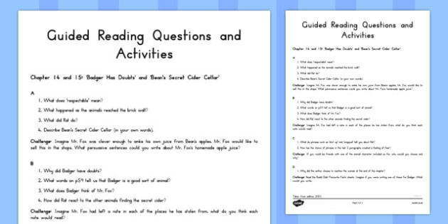 Guided Reading Questions Chapters 14 and 15 to Support Teaching on Fantastic Mr Fox - australia