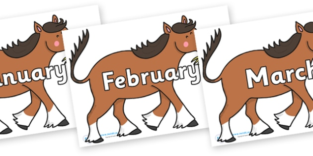 Months of the Year on Hullabaloo Carthorse to Support Teaching on Farmyard Hullabaloo - Months of the Year, Months poster, Months display, display, poster, frieze, Months, month, January, February, March, April, May, June, July, August, September