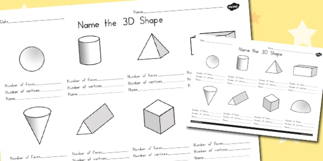Name the 3D Shape Worksheet 2 - australia, 3d, shape, sheet