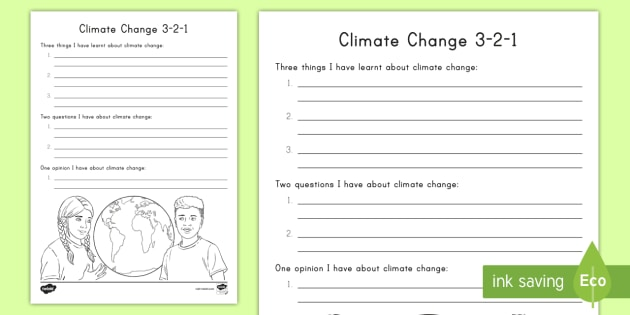climate change 3 2 1 worksheet activity sheet climate. Black Bedroom Furniture Sets. Home Design Ideas