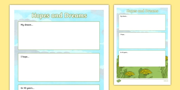 Primary 7 End of Year Hopes and Dreams Worksheet - End of year, transition, future, primary 7, seven, CfE