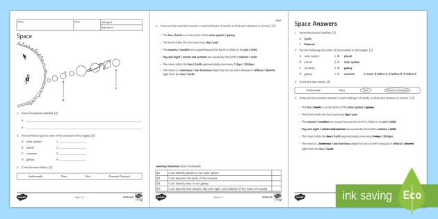 space homework worksheet ks3 science resources. Black Bedroom Furniture Sets. Home Design Ideas