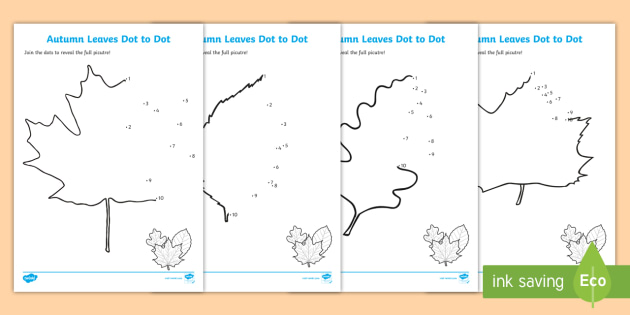 Leaves Dot To Dot Activity Sheets