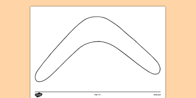 Boomerang Outline Activity Sheet Front and Back - australia, boomerang, template, outline, design, colouring, worksheet, art, technology