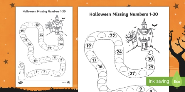 Halloween Spooky House Missing Numbers to 30 Worksheet / Activity Sheet