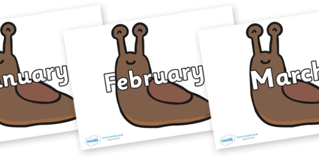 Months of the Year on Slugs - Months of the Year, Months poster, Months display, display, poster, frieze, Months, month, January, February, March, April, May, June, July, August, September