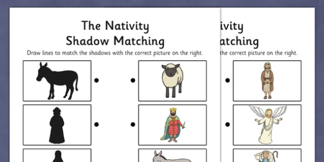 Nativity Shadow Matching Activity Sheet- nativity, shadow, matching