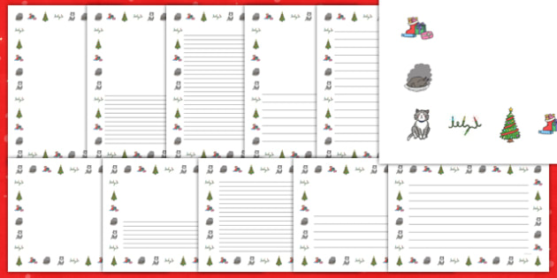 Christmas Cat Themed Page Borders Pack - christmas cat, cat, christmas, themed, page, borders, pack, mog