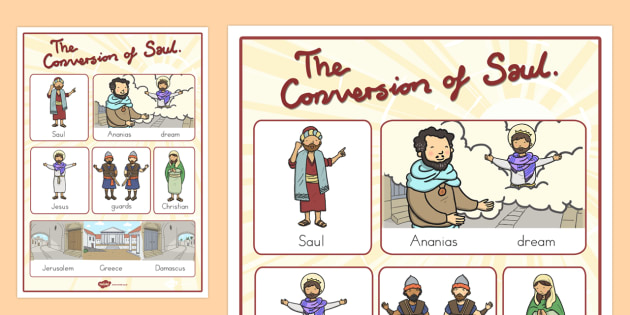 The Conversion of Saul Vocabulary Poster - usa, america, posters, displays, bible stories, conversion, road to damascus