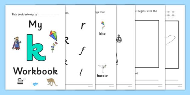 My Workbook k lowercase - workbook, k sound, lowercase, letters, alphabet, activity, handwriting, writing
